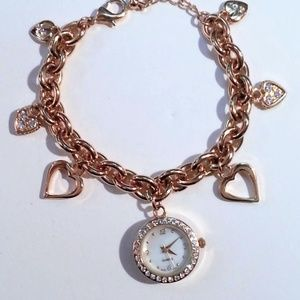 Accessories - Goldtone charm bracelet dangling hearts and watch